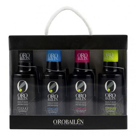 Oro Bailén - Reserva Familiar - Picual, Arbequina, Hojiblanca y Frantoio - Estuche Deluxe 4 Botellas 250 ml